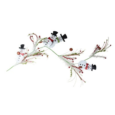 Transpac 5' Metallic Snowmen with Black Top Hats with Swirls and Berries Artificial Christmas Garland