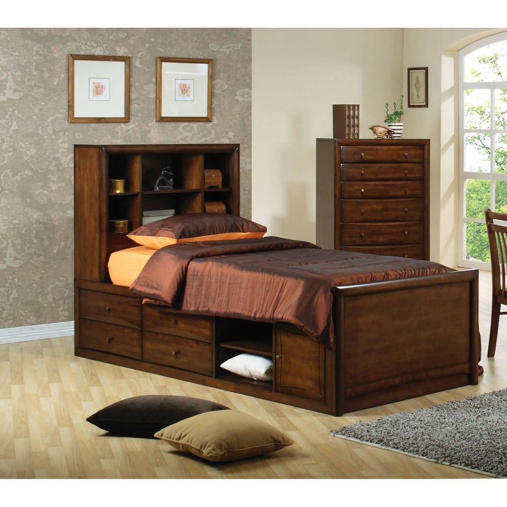 Image of Twin Hathaway Storage Bed with Bookcase Headboard Warm Brown - Private Reserve