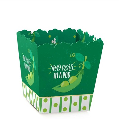 Big Dot of Happiness Double the Fun - Twins Two Peas in a Pod - Party Mini Favor Boxes - Baby Shower or 1st Birthday Treat Candy Boxes - Set of 12