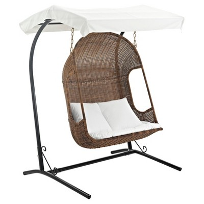 Vantage Outdoor Patio Wood Swing Chair In Brown White   Modway