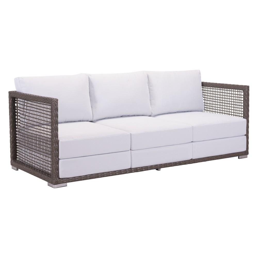 75 Modern Cabana Style Sofa Cocoa/Light Gray - ZM Home