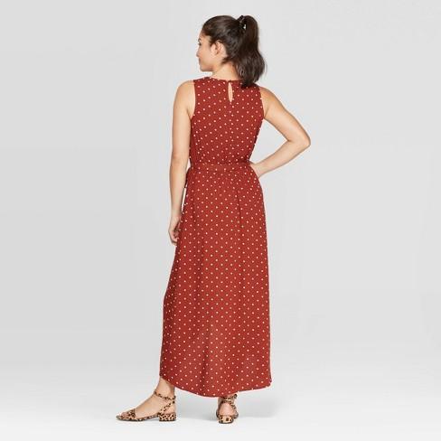 0a643fe287b Women's Polka Dot Sleeveless Scoop Neck Maxi Dress - A New Day™ Brown