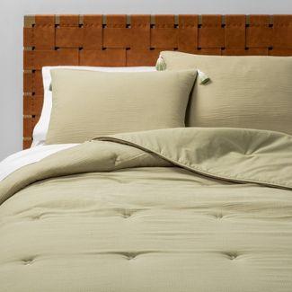 Twin/Twin XL Solid Cotton Gauze Tasseled Comforter Set Sage - Opalhouse™