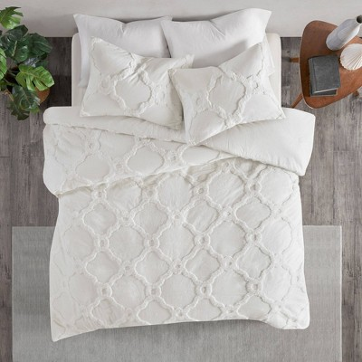 3pc Full/Queen Leena Cotton Geometric Duvet Cover Set White