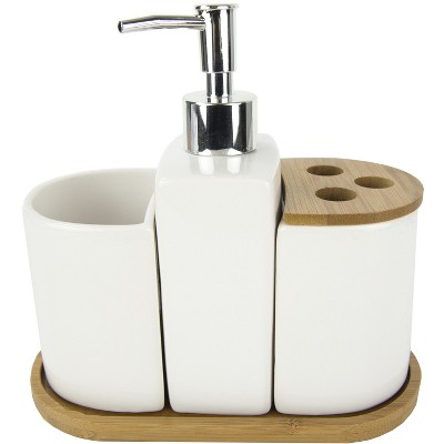 Home Basics 4 Piece Ceramic Bath Accessory Set With Bamboo Accents : Target