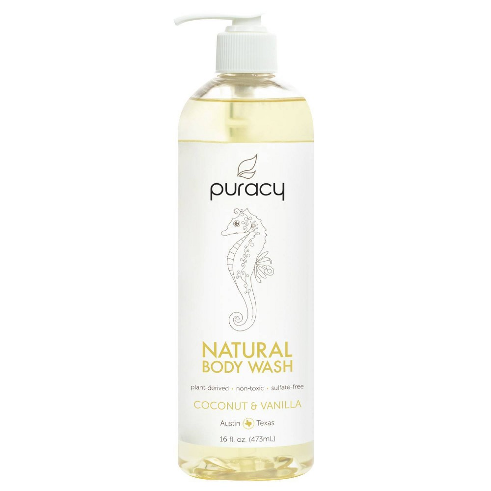 Image of Puracy Coconut & Vanilla Natural Body Wash Shower Gel - 16 fl oz
