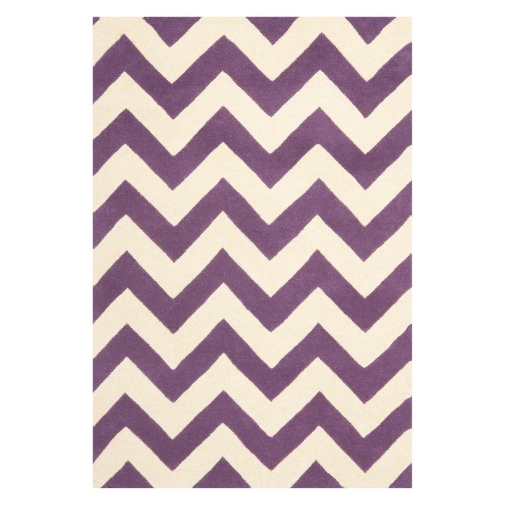 4'X6' Chevron Area Rug Purple/Ivory - Safavieh