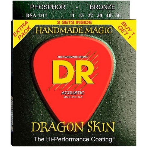 DR Strings Dragon Skin Clear Coated Phosphor Bronze Medium-Light Acoustic Guitar Strings (11-50) 2 Pack - image 1 of 1