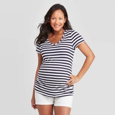 Maternity Striped Short Sleeve V-Neck Side Shirred T-Shirt - Isabel Maternity by Ingrid & Isabel™ Navy/White XXL