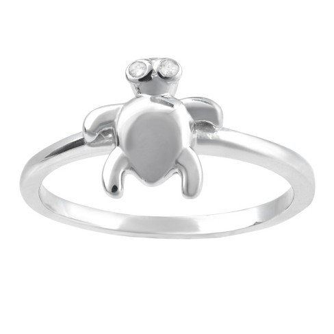 1/10 CT. T.W. Round-Cut Diamond Pave Set Turtle Ring in Sterling Silver (J-K-I1-I2) (7) - image 1 of 2