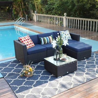 5pc Outdoor Wicker Rattan Furniture Set - Captiva Designs