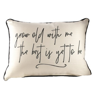 """Home Decor 14.0"""" Grow Old With Me Pillow Rectangle Lumbar  -  Decorative Pillow"""