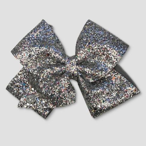 Girls' JoJo Siwa Glitter Bow Hairclip - Silver - image 1 of 2