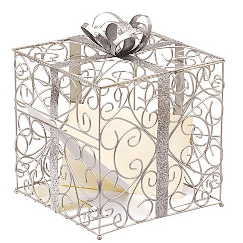 Wedding Card Holder.Silver Wedding Reception Gift Card Holder