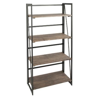 "49.25"" Dakota Industrial Bookshelf Black - LumiSource"