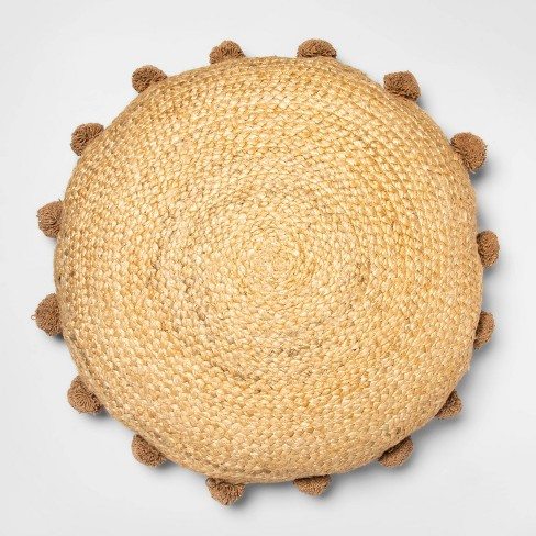 Oversized Round Jute Braided Pillow with Poms Neutral - Opalhouse™ - image 1 of 4