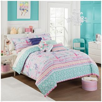 3pc Full La La Llama Reversible Comforter Set - Waverly Kids