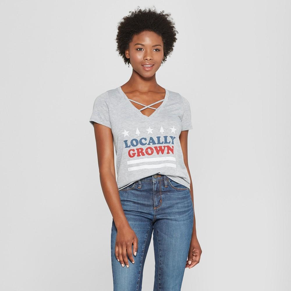 Women's Short Sleeve Locally Grown Graphic T-Shirt - Awake Heather Gray Xxl