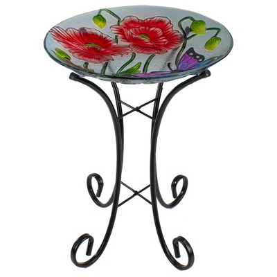 """Northlight 21"""" Butterfly and Carnations Hand Painted Glass Outdoor Birdbath"""