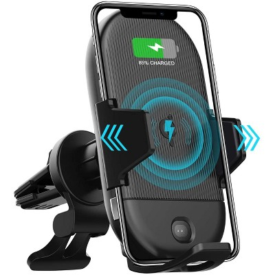Letscom Wireless Car Charger,15W Qi Fast Charging Car Mount Charger Auto-Clamping Air Vent Phone Holder - Black