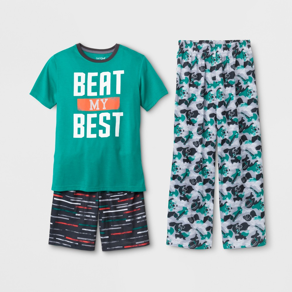 Boys' 3pc Beat My Best Sport Pajama Set - Cat & Jack Green XL