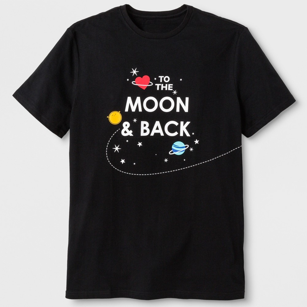 Men's Short Sleeve 'Moon & Back' Graphic T-Shirt - Black M