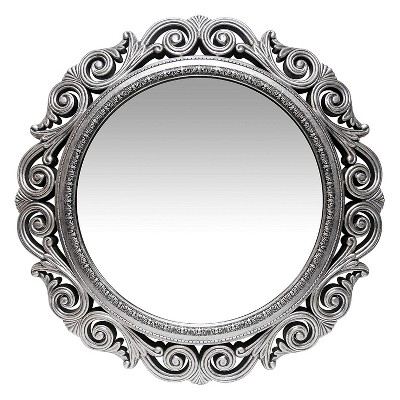 Infinity Instruments Antique Design Large 24-Inch Decorative Round Wall Mirror, Silver