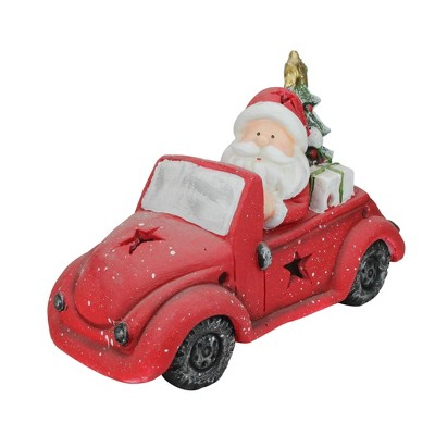"""Northlight 15"""" Red and White Santa Claus Driving Vintage Beetle Christmas Tree Table Top Decoration"""