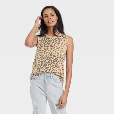 Women's Leopard Print Graphic Tank Top - Tan