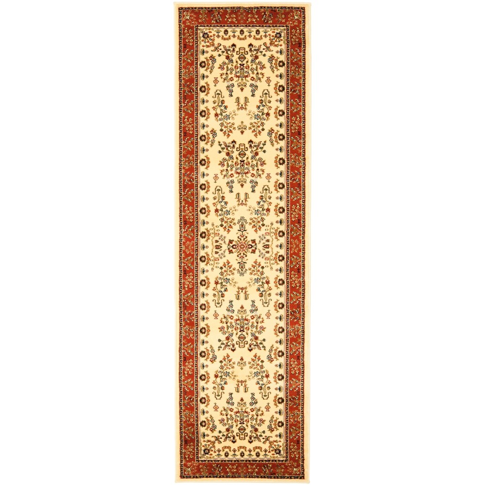2'3X12' Floral Loomed Runner Rug Ivory/Rust (Ivory/Red) - Safavieh