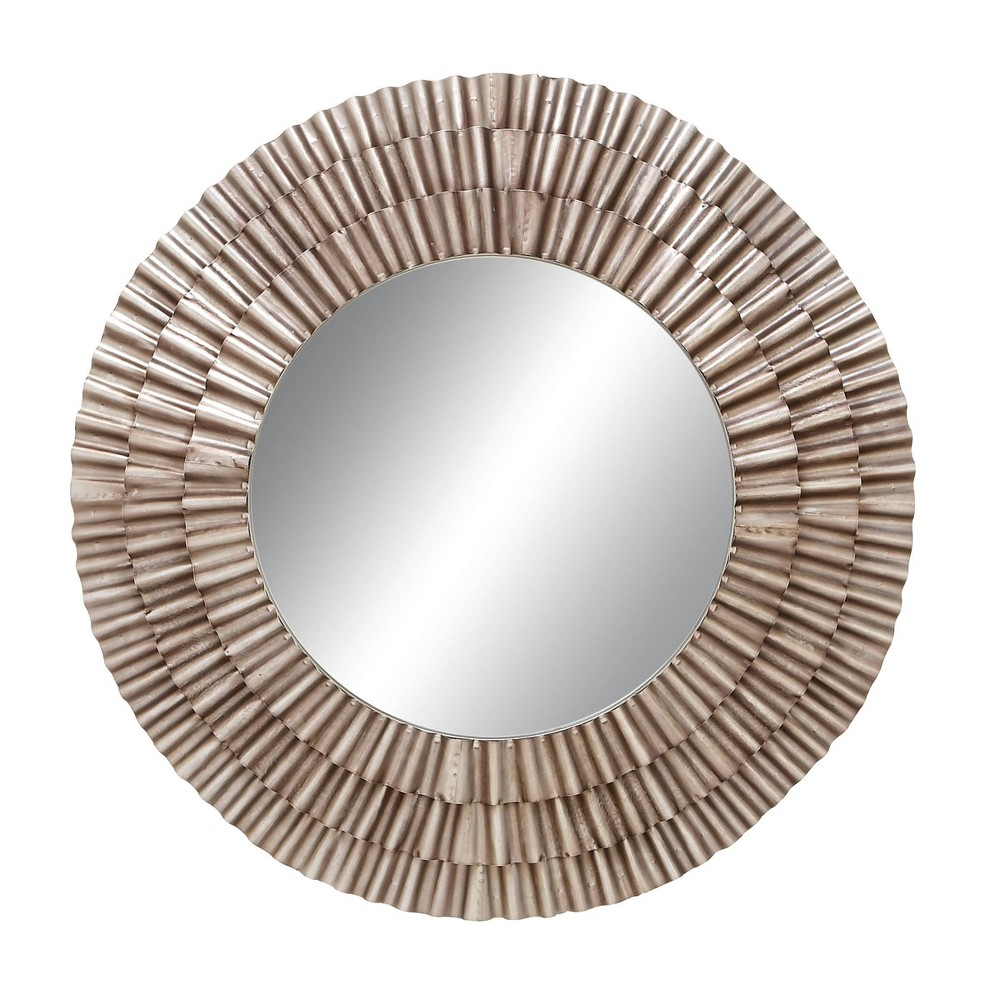Contemporary Fluted Iron And Wood Wall Mirror Olivia 38 May
