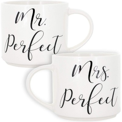 Blue Panda 2-Pack Mr. Perfect & Mrs. Perfect 15oz Stackable Bone China Coffee Mug Tea Cup Wedding Gift