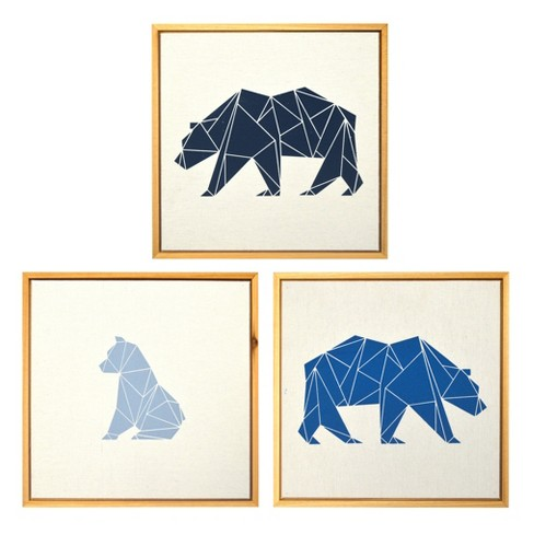"Framed Wall Canvas Bears 3pk (10.25""x10.25"") - Cloud Island™ Natural/Blue - image 1 of 5"