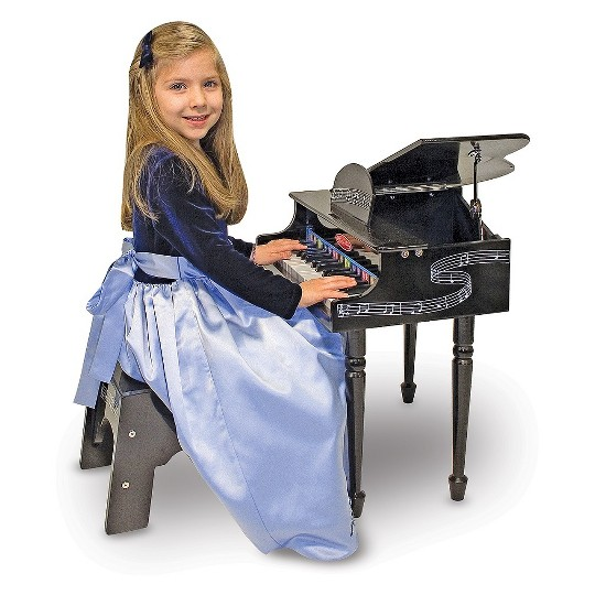 Melissa & Doug Learn-To-Play Classic Grand Piano With 30 Keys, Color-Coded Songbook, and Non-Tip Bench image number null