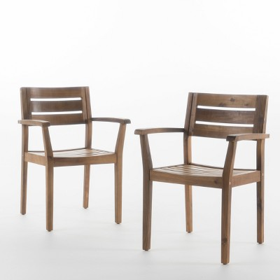 Stamford 2pk Acacia Wood Dining Chairs   Teak   Christopher Knight Home