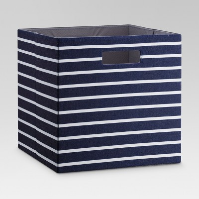 "13"" Fabric Cube Storage Bin Navy White Stripe - Threshold™"