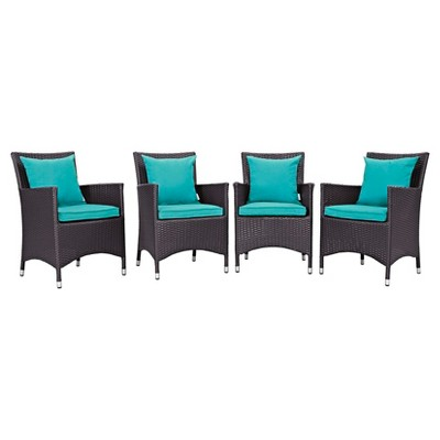 Convene 4pc All-Weather Wicker Patio Dining Set - Espresso/Turquoise - Modway