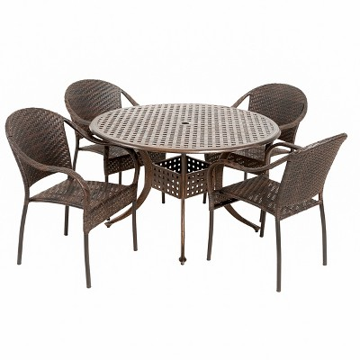 Sunset 5pc Wicker And Cast Aluminum Dining Set   Bronze/Brown   Christopher  Knight Home