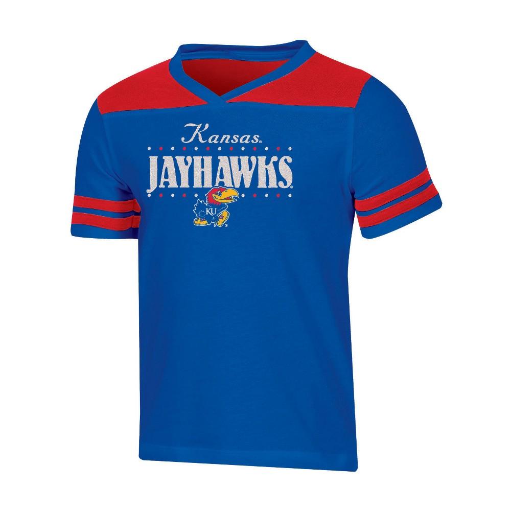 NCAA Girls' Heather Fashion T-Shirt Kansas Jayhawks - L, Multicolored