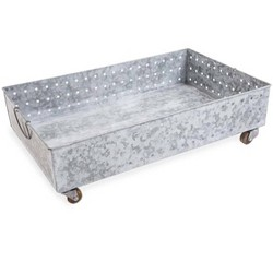 Hole Punched Galvanized Steel Rolling Boot Tray - Vivaterra