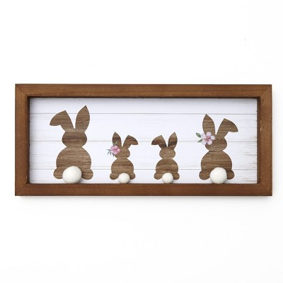 Lakeside Cottontail Bunny Family Framed Wall Plaque - Indoor Easter Home Accent