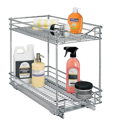 Lynk Professional 11  x 18  Slide Out Double Shelf - Pull Out Two Tier Sliding Under Cabinet Organizer