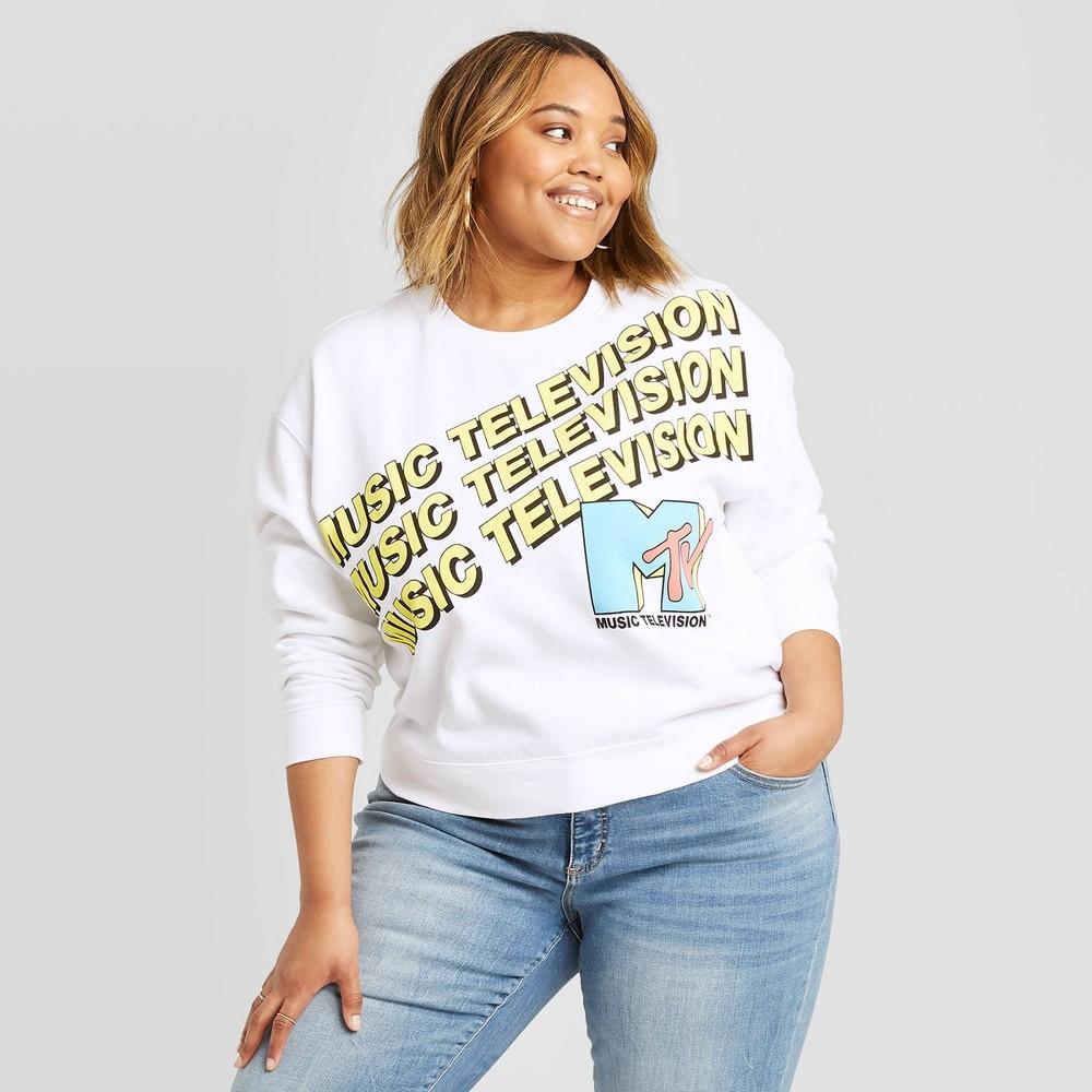 Women's MTV Music Television Sweatshirt (Juniors') - White 2X, Women's, Size: 2XL was $19.99 now $11.99 (40.0% off)