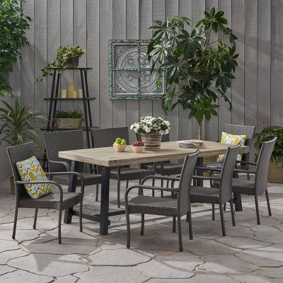 Jefferson 9pc Wood and Wicker Dining Set - Light Gray/Gray - Christopher Knight Home