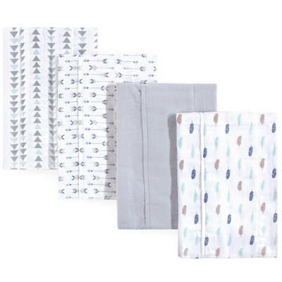 Luvable Friends Baby Boy Cotton Flannel Burp Cloths 4pk, Boy Feathers, One Size