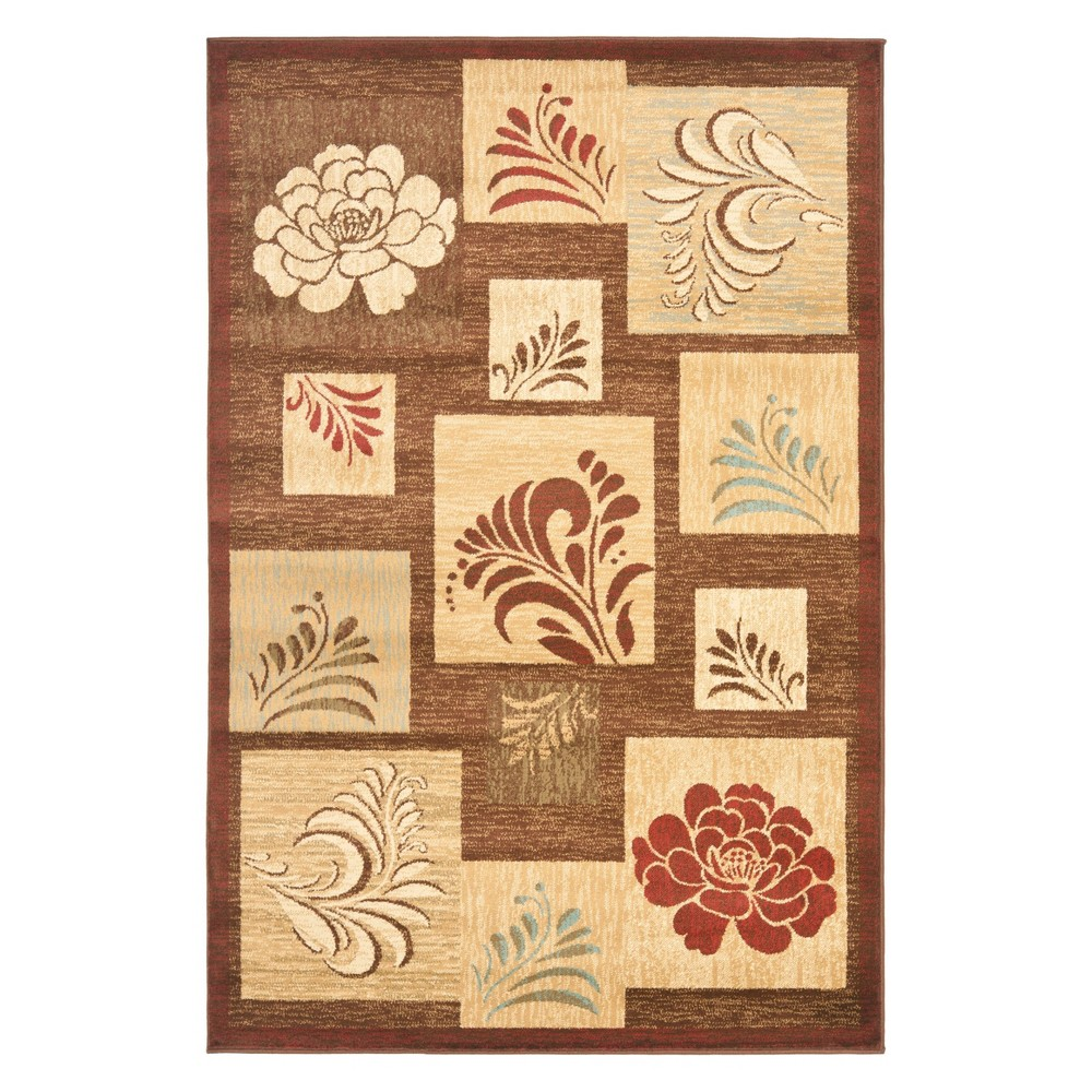 33X53 Floral Loomed Accent Rug Brown - Safavieh Coupons