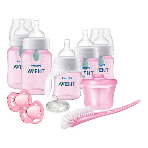 Philips Avent Anti-colic Bottle With AirFree vent Gift Set Beginner Set Pink - image 1 of 4
