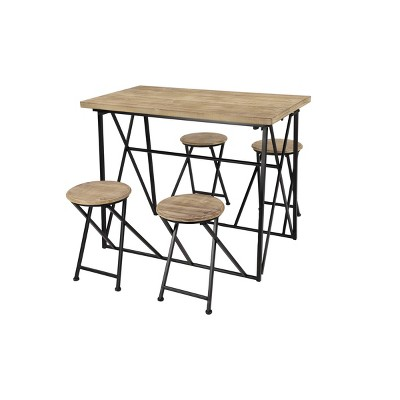 Dining Table Set with Retractable Nesting Stools Light Brown - Olivia & May