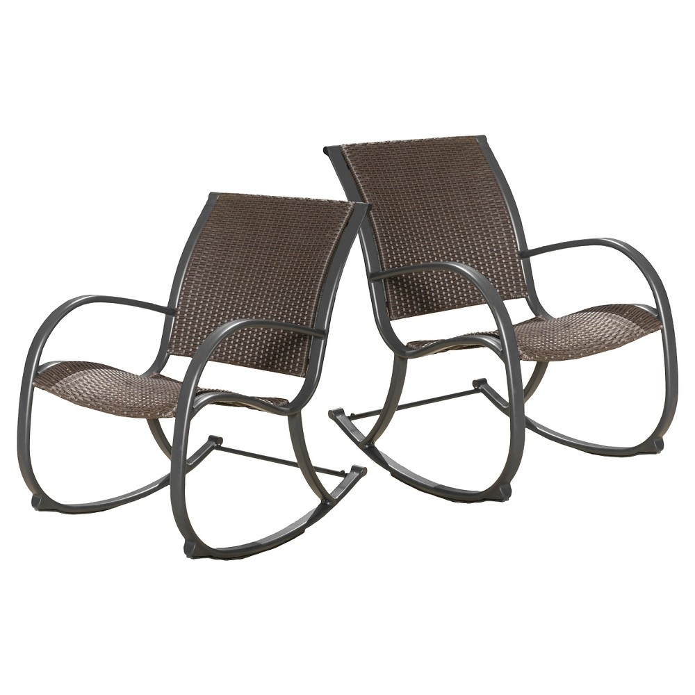 Gracie's Set of 2 Wicker Patio Rocking Chair - Brown - Christopher Knight Home