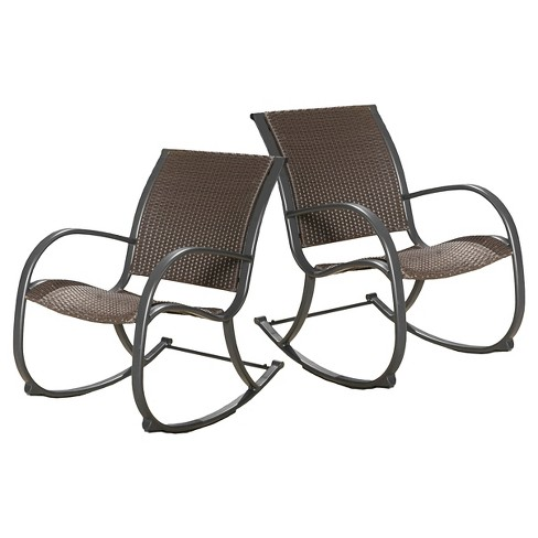 Brilliant Gracies Set Of 2 Wicker Patio Rocking Chair Brown Christopher Knight Home Short Links Chair Design For Home Short Linksinfo